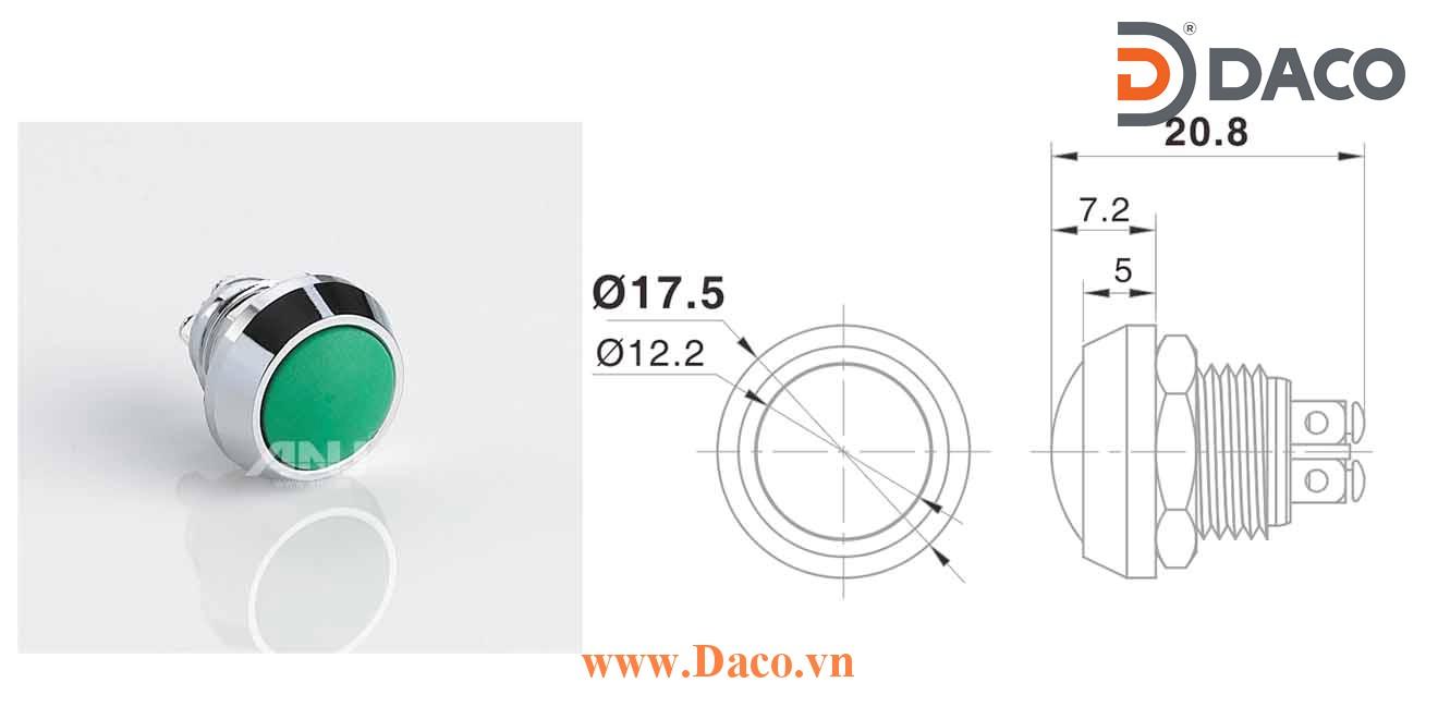 A12AB-10Z Nút nhấn kim loại Nhấn giữ 1 tiếp điểm, chân ốc 1NO