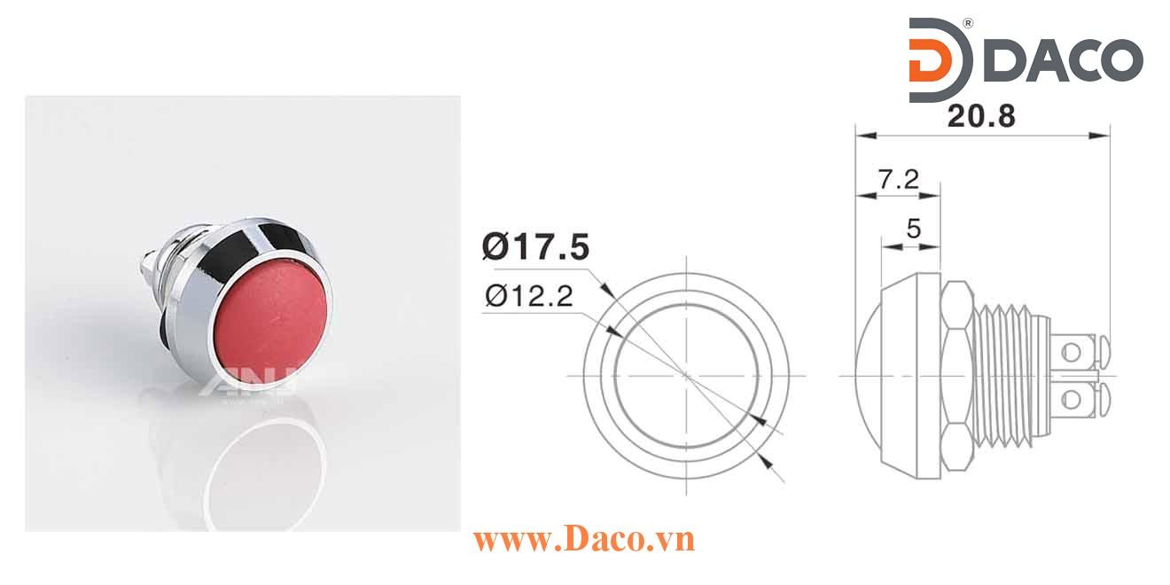 A12AB-10 Nút nhấn kim loại Nhấn nhả 1 tiếp điểm, chân ốc 1NO