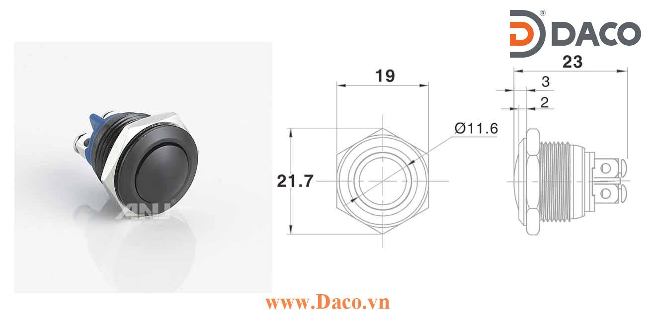 A16AB-10Z Nút nhấn kim loại Φ16 Nhấn giữ 1 tiếp điểm, chân ốc 1NO
