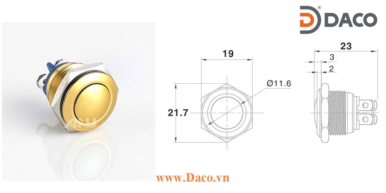 A16AB-10 Nút nhấn kim loại Φ16 Nhấn nhả 1 tiếp điểm, chân ốc 1NO