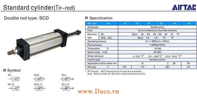 SCD Cylinder Xi lanh khí nén Airtac