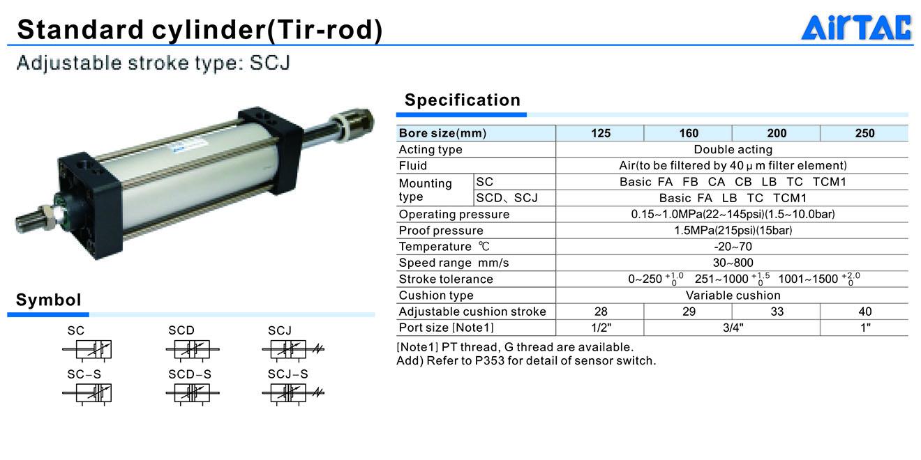 SCJ Cylinder Xi lanh khí nén Piston cỡ lớn 2 đầu điều chỉnh Airtac