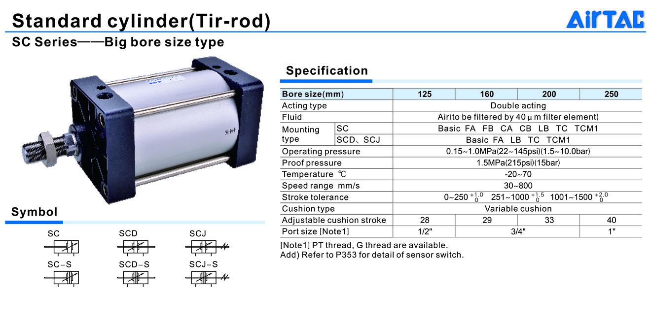 SC Cylinder Xi lanh khí nén Piston cỡ lớn 1 đầu Airtac