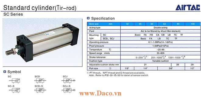 SC Cylinder Xi lanh khí nén Airtac