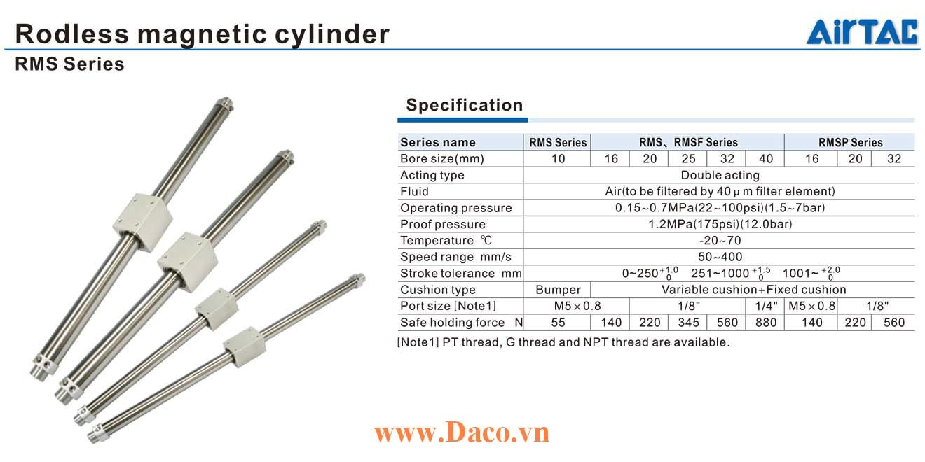 RMS-10 Cylinder Xy lanh từ tính không trục Rodless Airtac