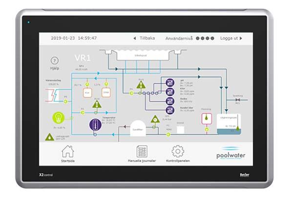 X2 Control-HMI Beijer Điều khiển hệ thống xử lý nước bể bơi-Ứng dụng