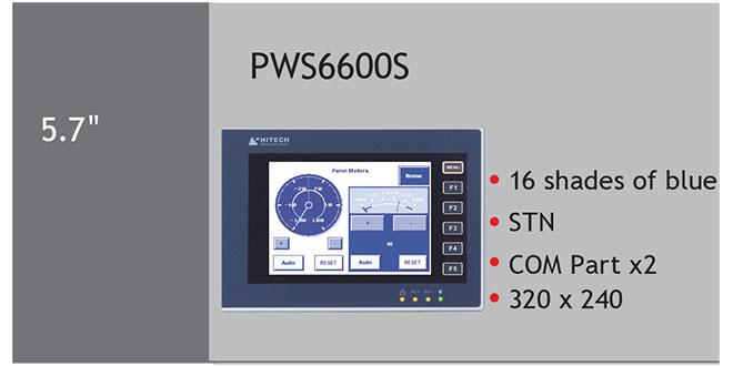 PWS6600S Màn hình cảm ứng HMI Hitech 5.7 Inch Mono STN LCD