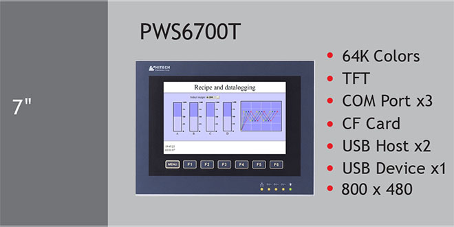 PWS6700T Màn hình cảm ứng HMI Hitech 7 Inch 64K Color