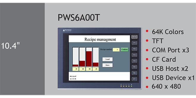 PWS6A00T Màn hình cảm ứng HMI Hitech 10.4 Inch 64K Color