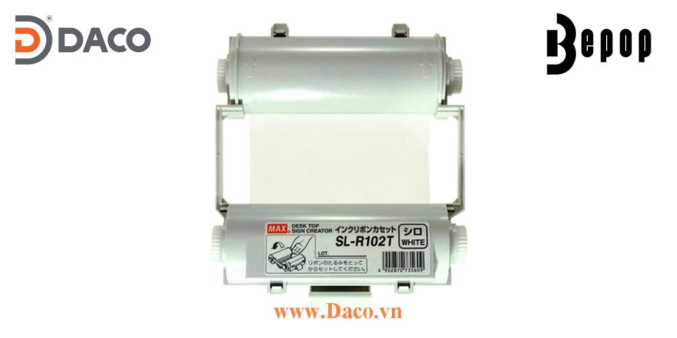 Băng mực in Bepop SL-R102T, Màu Trắng, 110mm x 55m, Máy in cắt nhãn CPM100