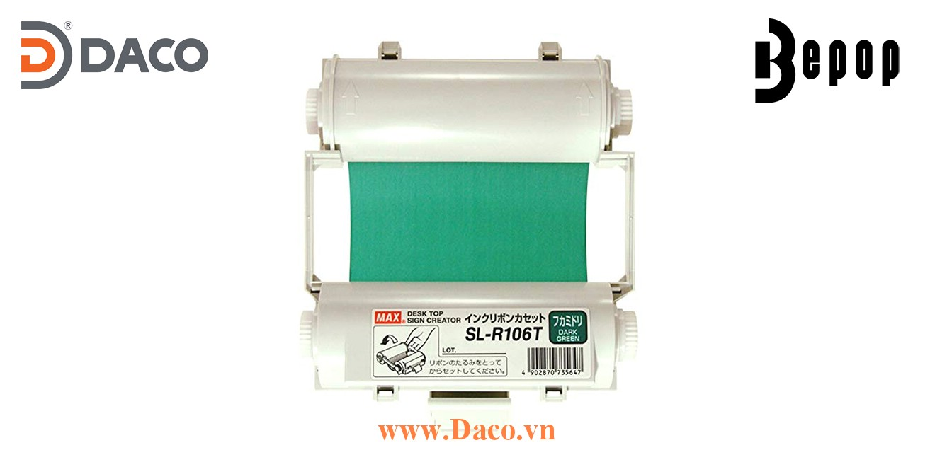Băng mực in Bepop SL-R106T, Màu Xanh Green Đậm, 110mm x 55m, Máy in cắt nhãn CPM100