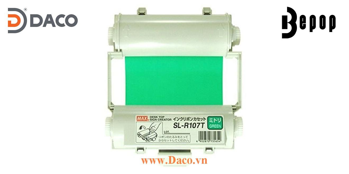 Băng mực in Bepop SL-R107T, Màu Xanh-Green, 110mm x 55m, Máy in cắt nhãn CPM100