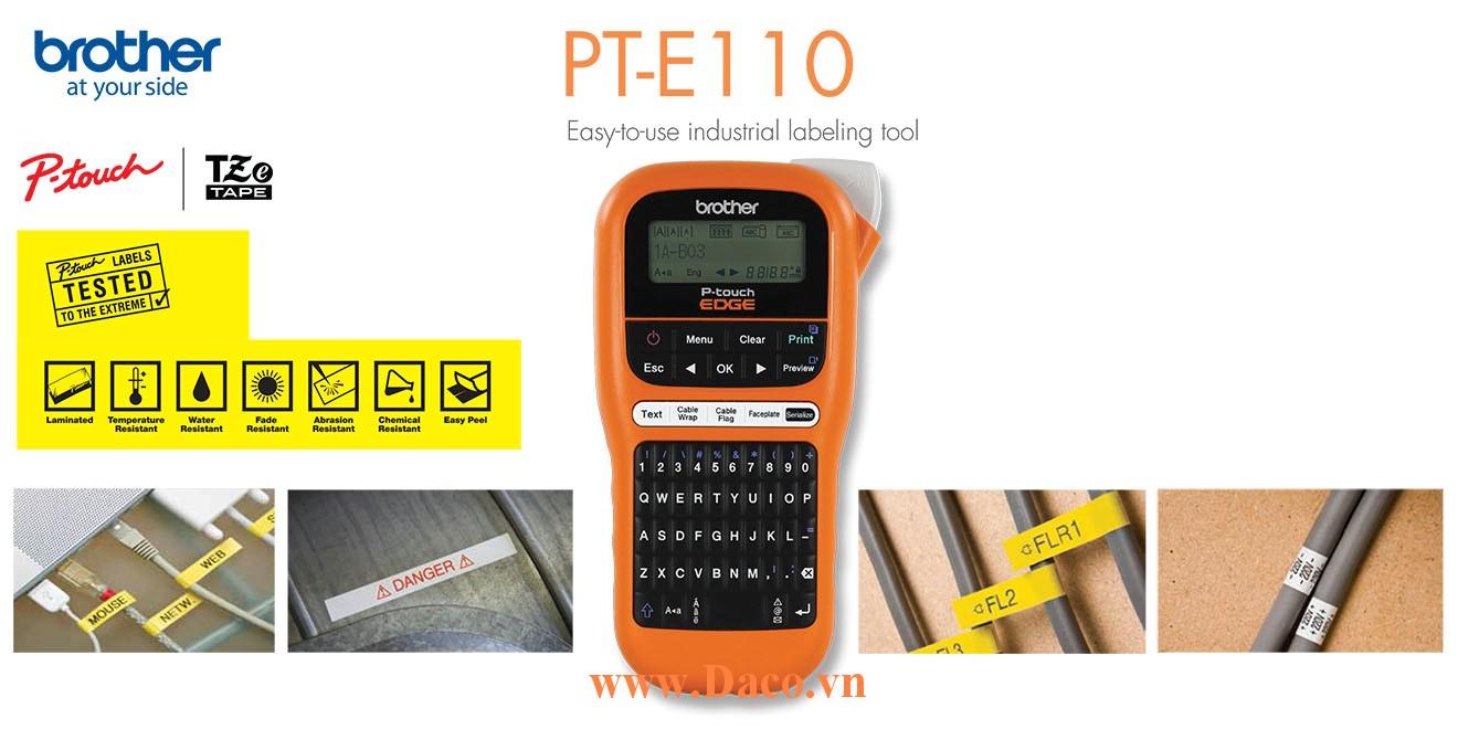 PT-E110 Máy in nhãn cầm tay đa lớp có bàn phím Brother 12mm