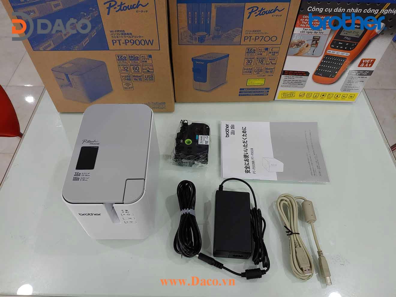 PT-P900W Hình ảnh thực tế Máy in nhãn để bàn chuyên dụng Brother 6-9-12-18-24-36 mm