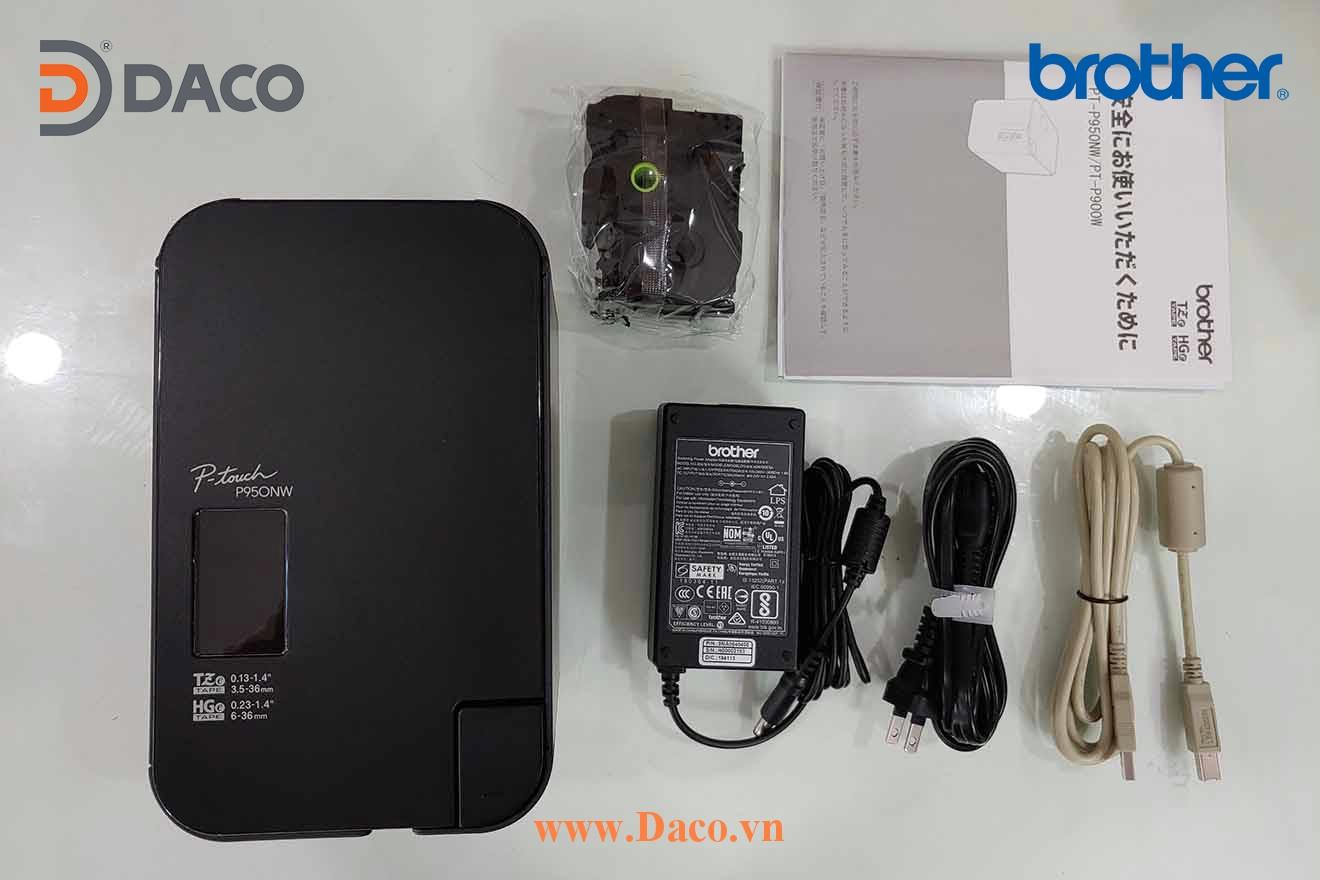 PT-P950W Hình ảnh thực tế Máy in nhãn để bàn kết nối mạng LAN chuyên dụng Brother 6-9-12-18-24-36 mm