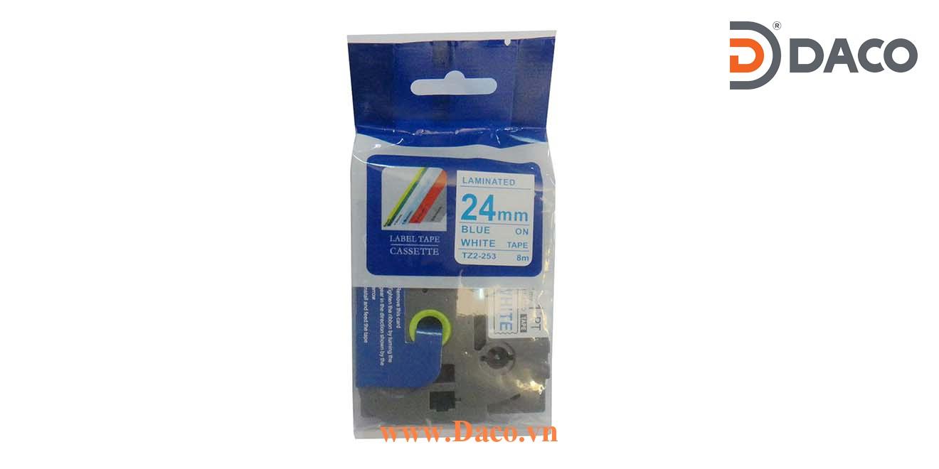 TZ2-253 Nhãn in đa lớp 24mmx8m Chữ Xanh Blue Nền Trắng