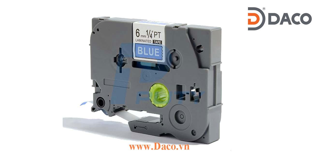 TZ2-515 Nhãn in đa lớp 6mmx8m Chữ Trắng Nền Xanh Blue
