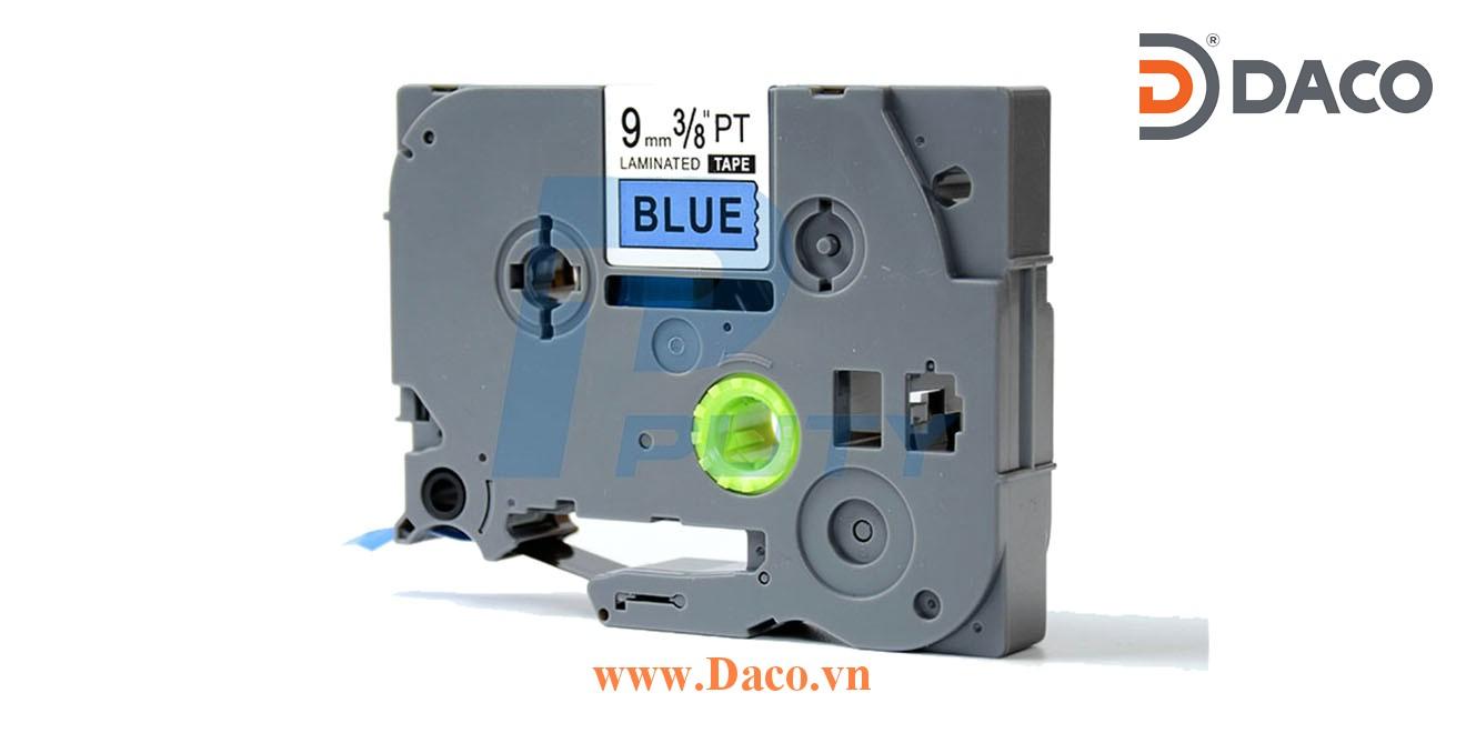 TZ2-521 Nhãn in đa lớp 9mmx8m Chữ Đen Nền Xanh Blue