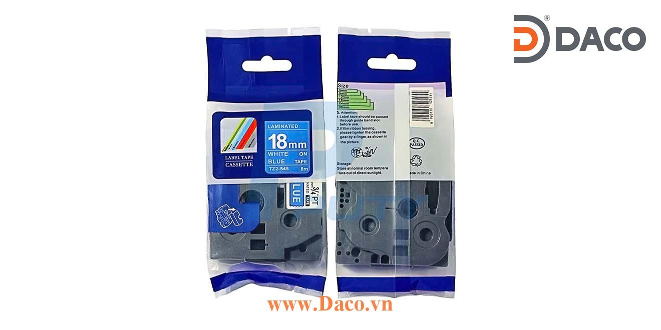 TZ2-545 Nhãn in đa lớp 18mmx8m Chữ Trắng Nền Xanh Blue
