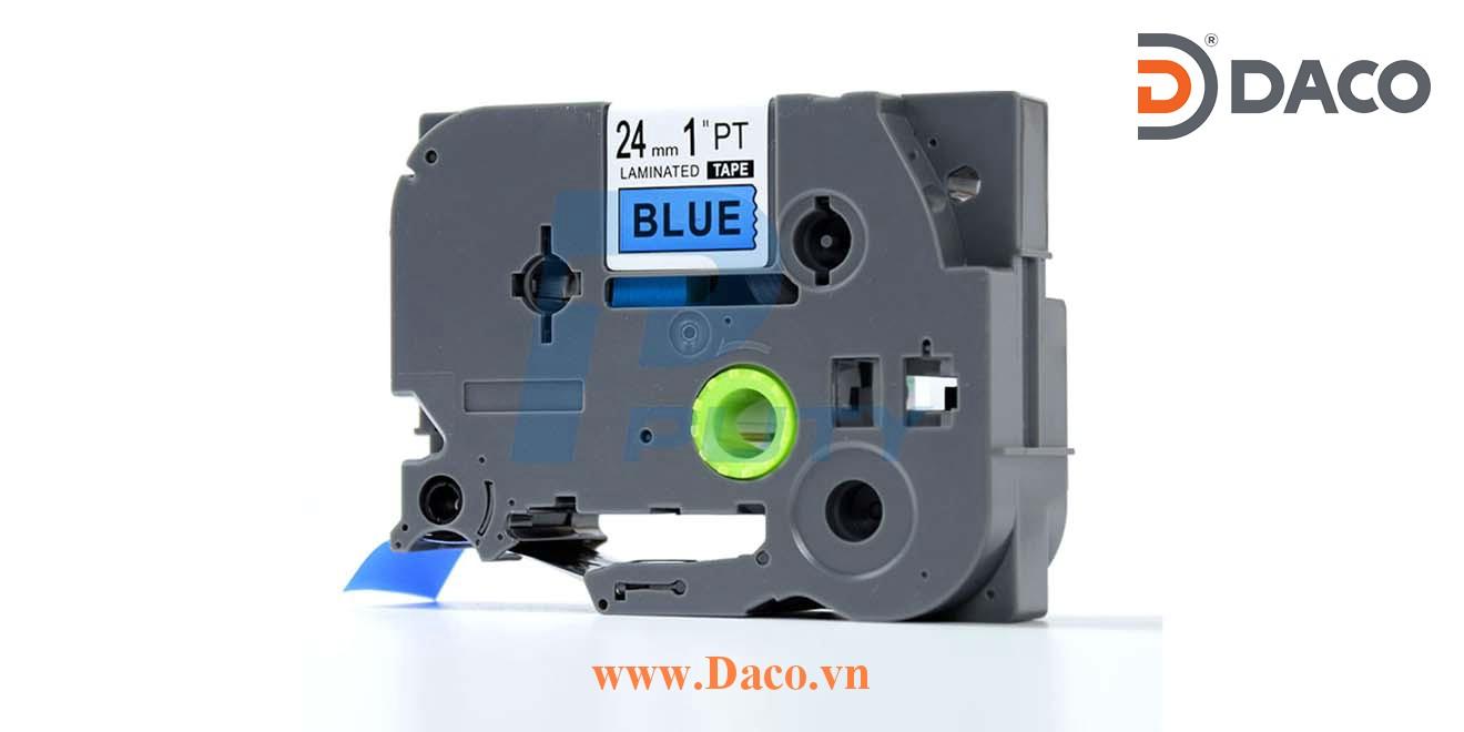 TZ2-551 Nhãn in đa lớp 24mmx8m Chữ Đen Nền Xanh Blue