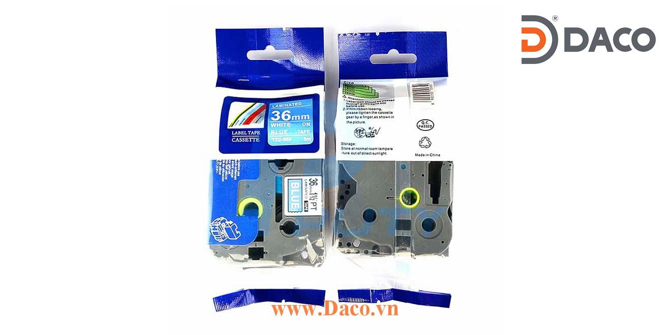 TZ2-565 Nhãn in đa lớp 36mmx8m Chữ Trắng Nền Xanh Blue