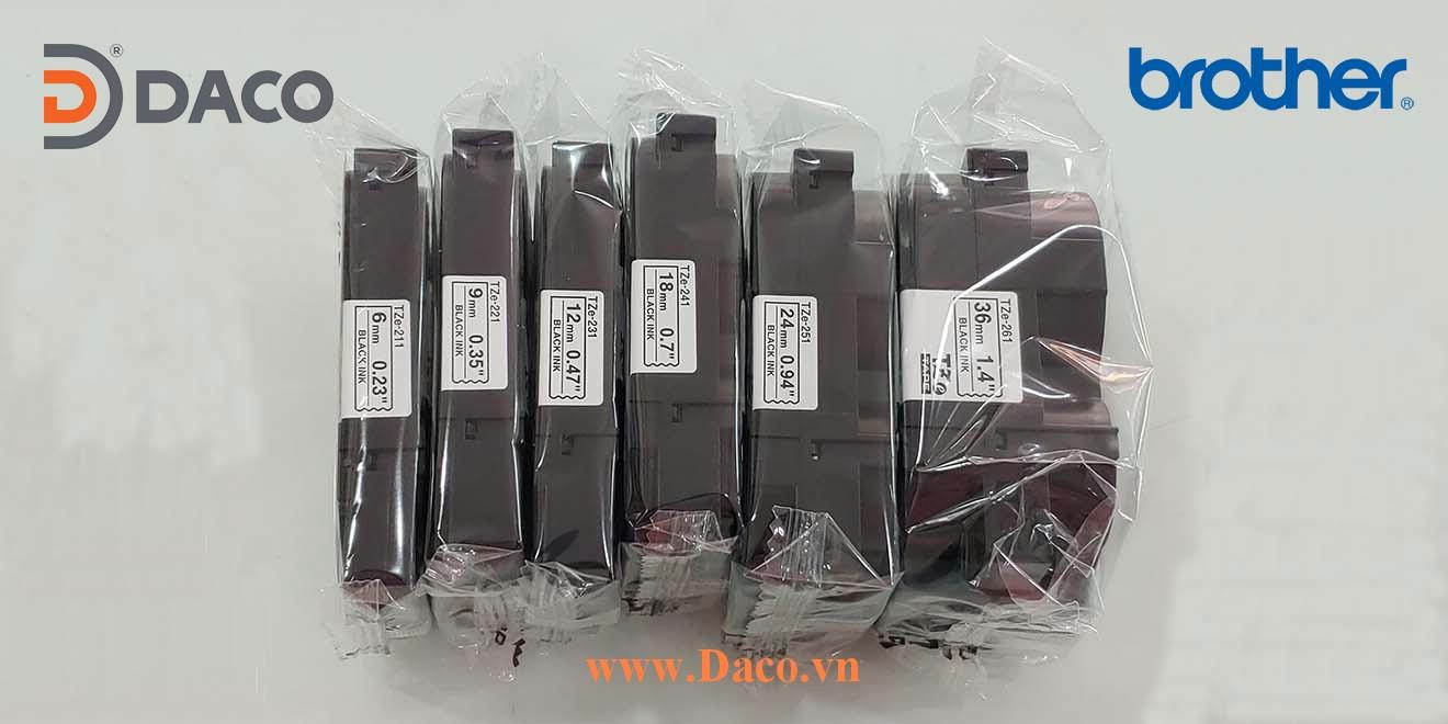 TZe-6mm Hình ảnh thực tế Băng nhãn máy in Tem nhãn Brother 6mm x 8m