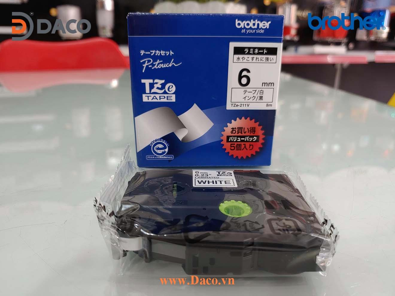TZe-211 Hình ảnh thực tế Băng nhãn máy in Tem nhãn Brother: Chữ Đen Nền Trắng 6mm x 8m