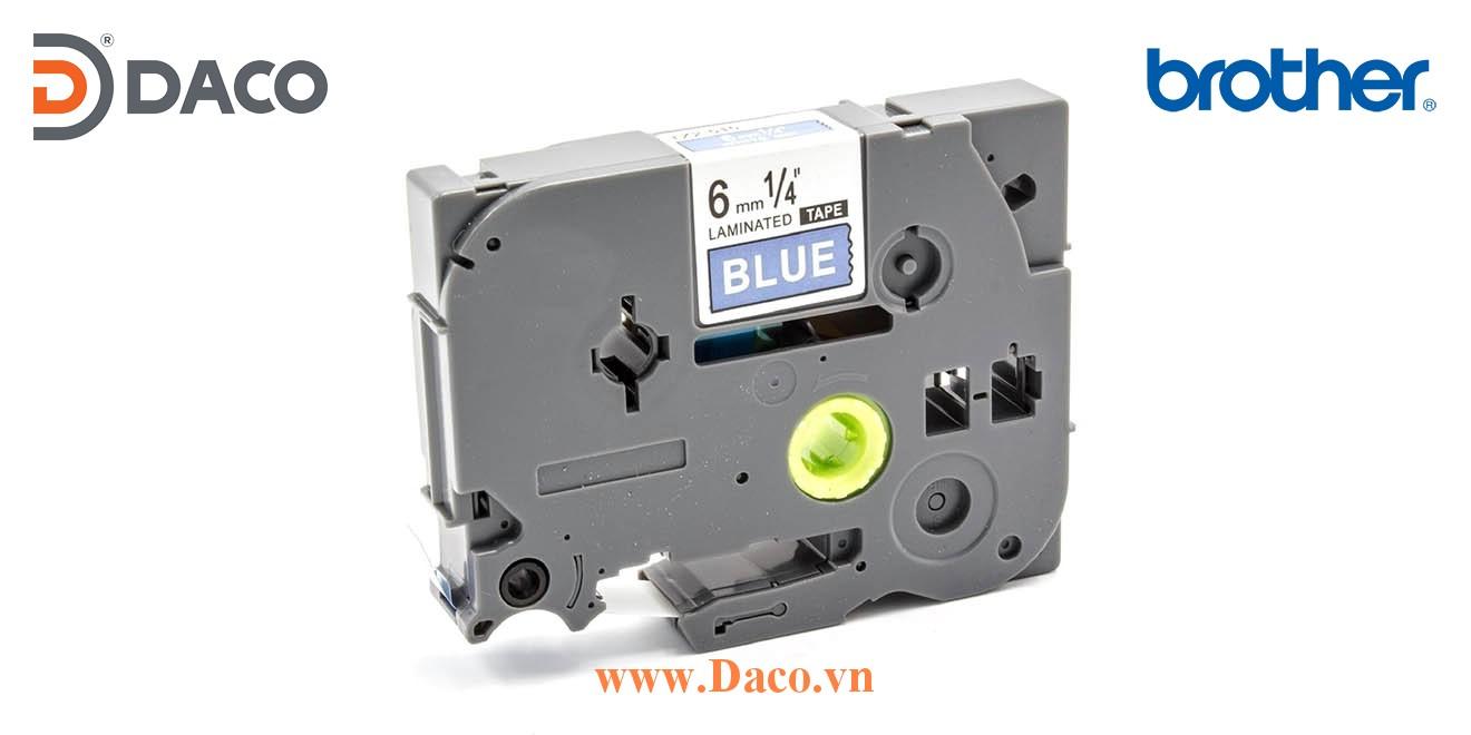 TZe-515 Brother Nhãn in đa lớp 6mmx8m Chữ Trắng Nền Xanh Blue