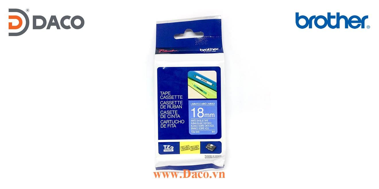 TZe-545 Brother Nhãn in đa lớp 18mmx8m Chữ Trắng Nền Xanh Blue