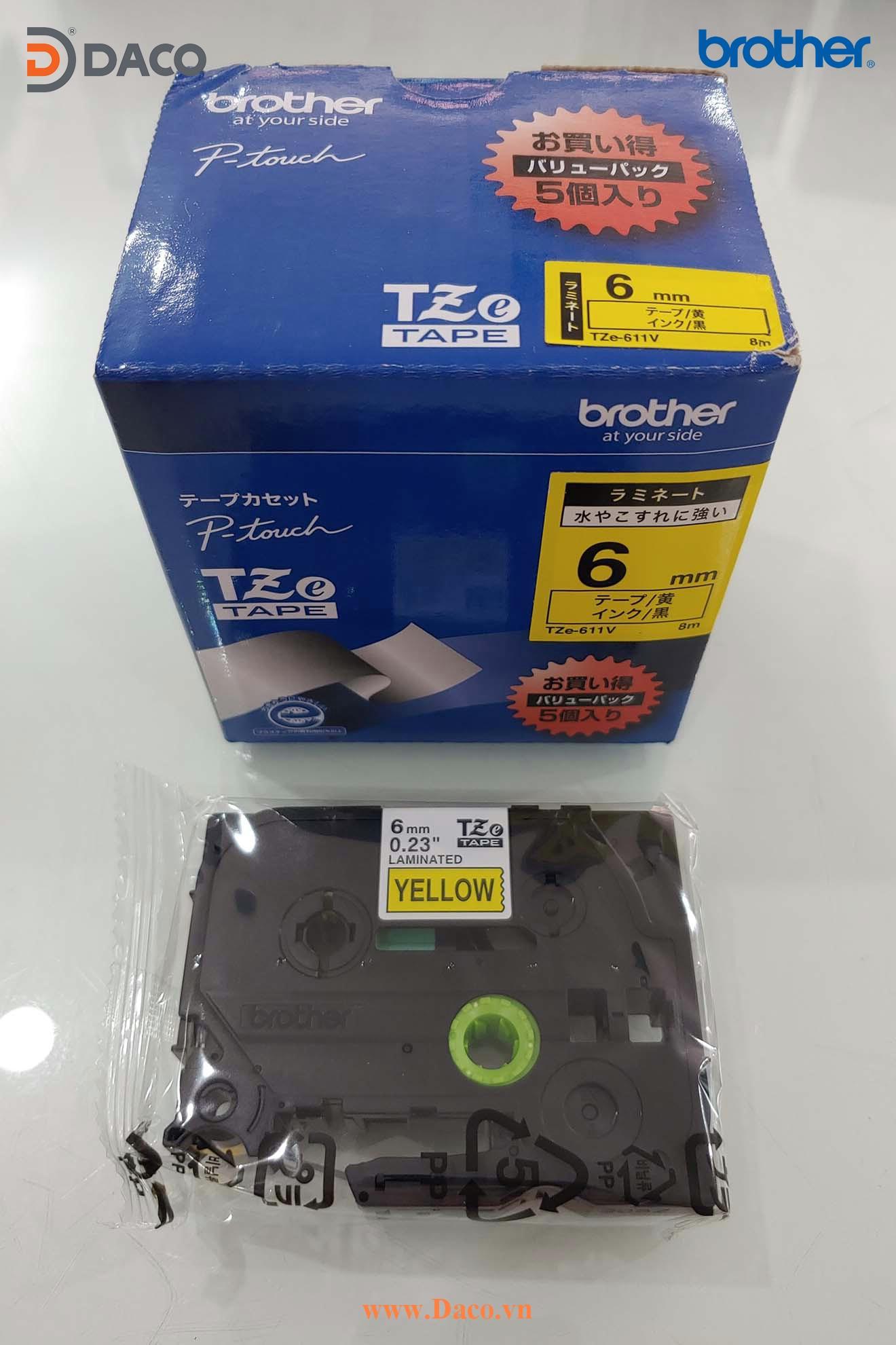 TZe-611 Hình ảnh thực tế Băng nhãn máy in Tem nhãn Brother: Chữ Đen Nền Vàng