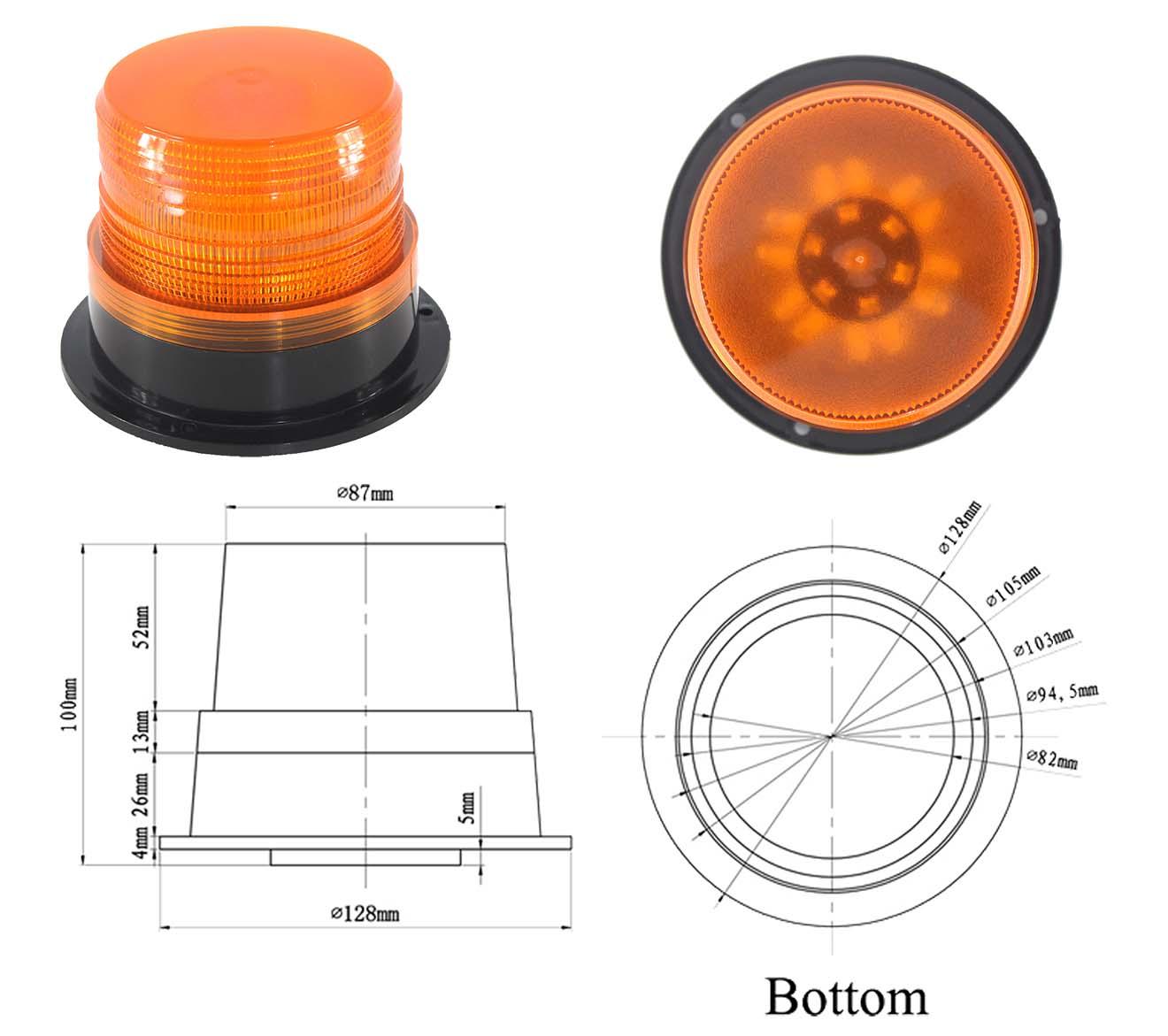 Đèn báo hiệu TBH-628L1 Nhấp nháy cho xe Phi 13 cm