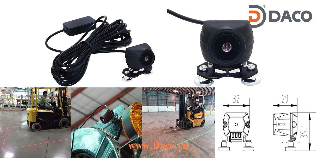 FLSZBL-TPJG02 Đèn vạch vùng an toàn cho xe nâng Forklift Laser, Xanh, Ánh sáng đường thẳng, 10-80VDC, 0.2W, 34x39*29mm, IP67