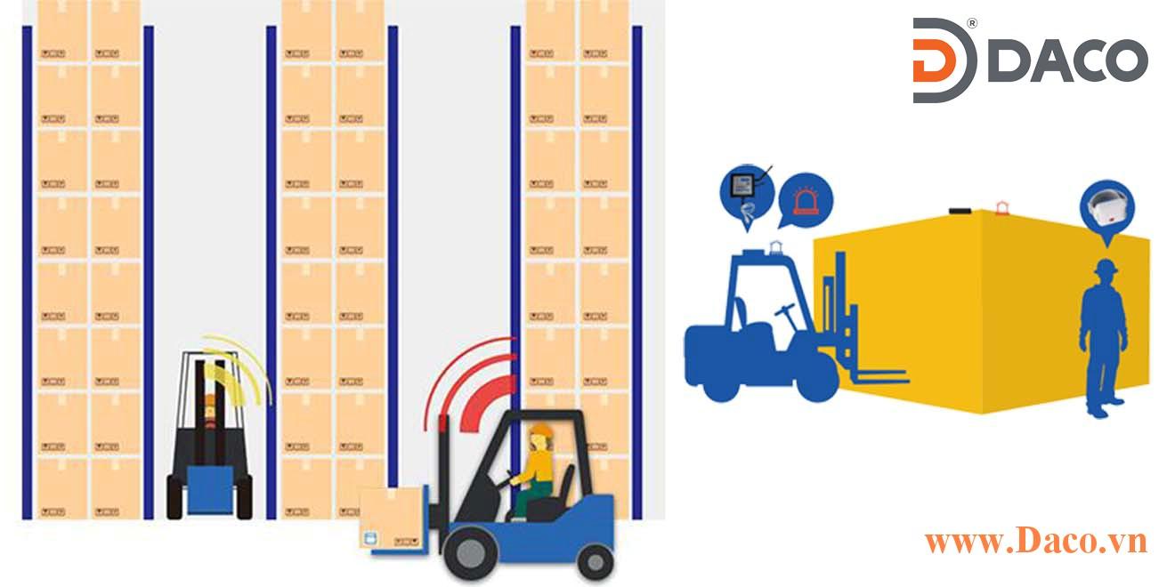 Giải pháp chống va chạm lối đi hẹp giúp giảm rủi ro va chạm xe nâng giữa người và xe Forklift