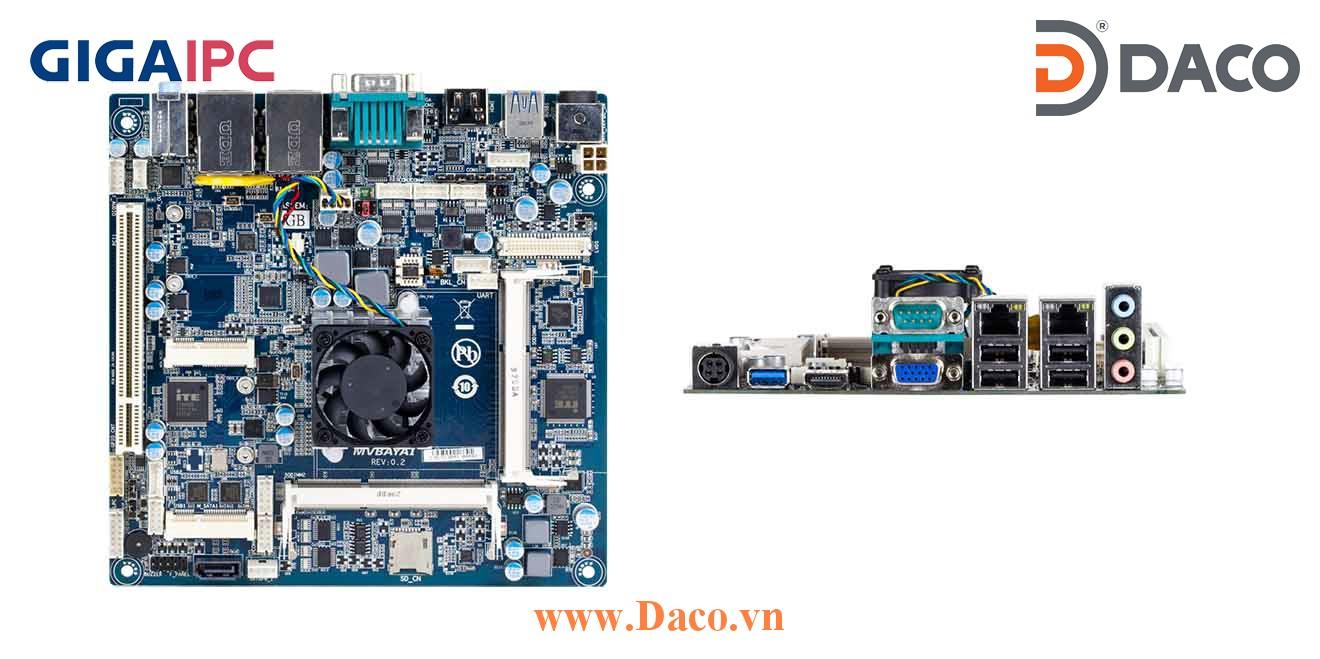 mITX-1900A Main máy tính công nghiệp Intel® J1900 Processor, 2xDDR3L RAM, PCI Slot, 2xGbE LAN, , 6xUSB, 1xSata II