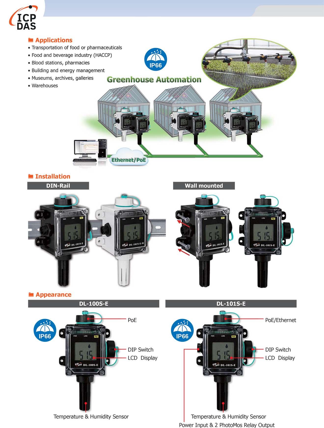 DL-100S-E Bộ ghi dữ liệu cảm biến nhiệt độ, độ ẩm ICP DAS-Các ứng dụng
