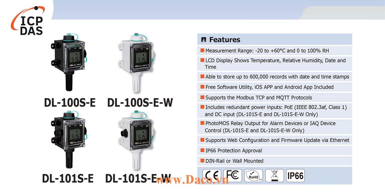 DL-101S-E Bộ ghi dữ liệu cảm biến nhiệt độ, độ ẩm ICP DAS
