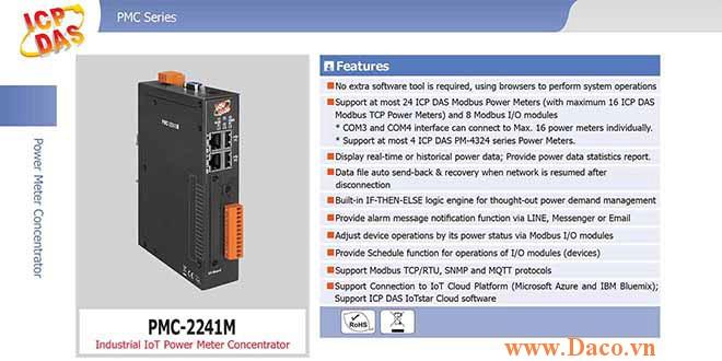 PMC-2241M Bộ quản lý tập trung đồng hồ đo điện IoT Công nghiệp ICP DAS