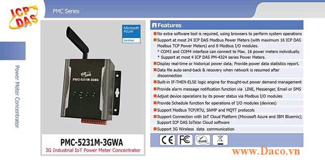 PMC-5231M-3GWA Bộ quản lý tập trung đồng hồ đo điện IoT công nghiệp 3G ICP DAS