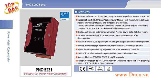 PMC-5231 Bộ quản lý tập trung đồng hồ đo điện IoT công nghiệp ICP DAS