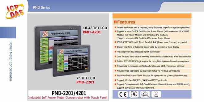 PMD-4201 Màn hình cảm ứng quản lý tập trung đồng hồ đo điện IoT Công nghiệp 10Inch ICP DAS