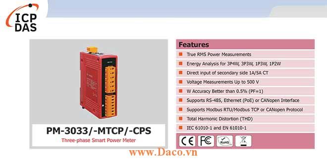 PM-3033 Đồng hồ đo điện thông minh 3 pha ICP DAS