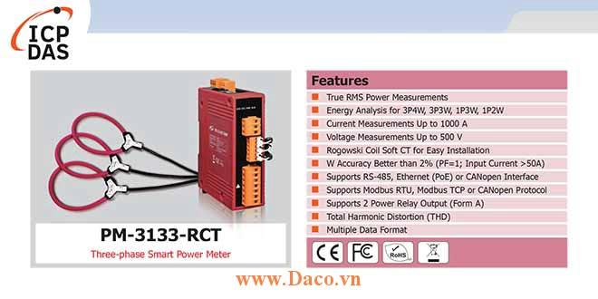 PM-3133-RCT Đồng hồ đo điện thông minh 3 pha ICP DAS
