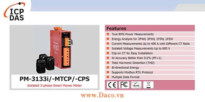 PM-3133i Đồng hồ đo công suất thông minh 3 pha cách ly ICP DAS