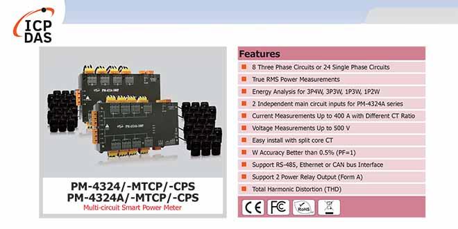 PM-4324/4324A Đồng hồ đo điện thông minh đa kênh ICP DAS