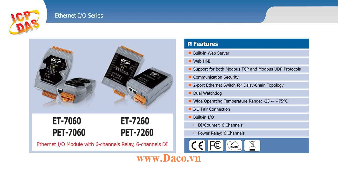 PET-7260 Remote IO Ethernet POE 10/100 LANx2 DI=6 Wet Sink/Source, DO=6 Power Relay 5A