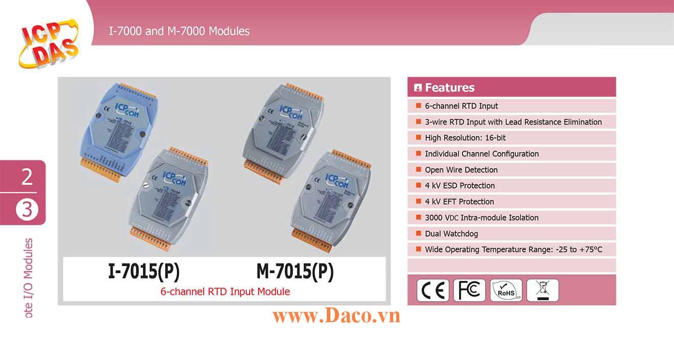M-7015P Remote IO RS485 AI=6 Kênh RTD, Protocol Modbus RTU, DCON