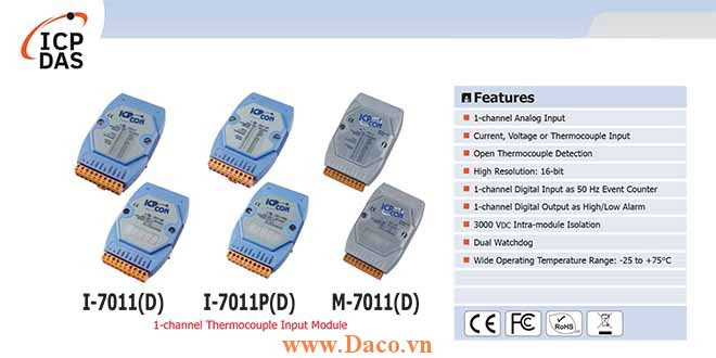 I-7011/I-7011D/I-7011P/I-7011PD/M-7011/M-7011D Module đầu vào cặp nhiệt điện 1 kênh