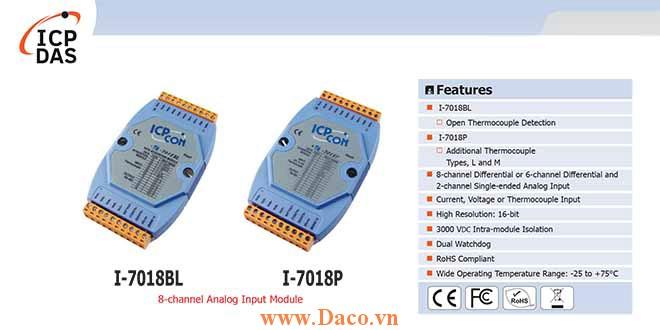 I-7018BL/I-7018P Module đầu vào tương tự 8 kênh