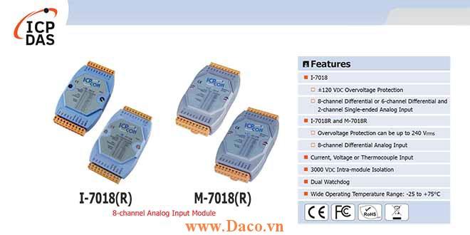 I-7018/I-7018R/M-7018/M-7018R Module đầu vào tương tự 8 kênh