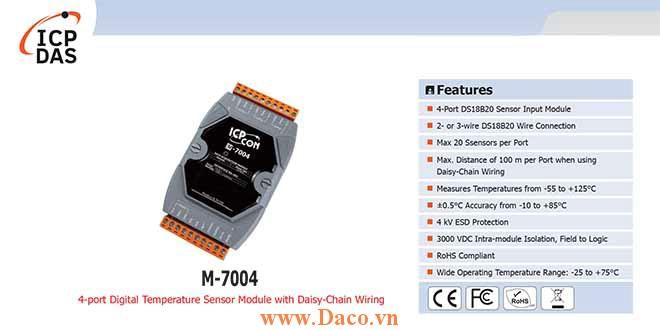 M-7004 Module cảm biến nhiệt độ kỹ thuật số 4 cổng với dây Daisy-Chain